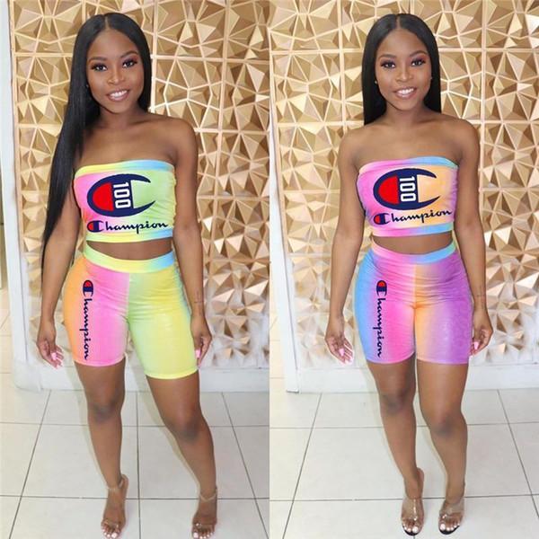 2019 Champion Женщины Дизайнерский спортивный костюм из двух частей одежды бренда Rainbow Tie-dye Без бретелек Tube Top Байкерские шорты Летний роскошный костюм лучший