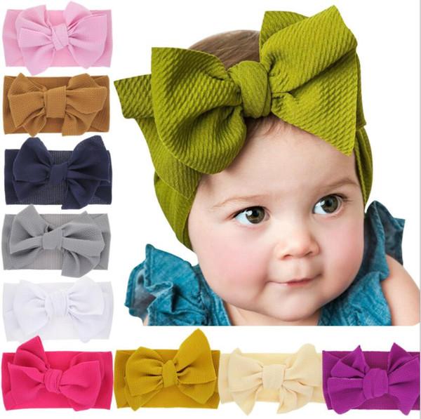 top popular Fashion Baby Girls big bow headbands Elastic Bowknot hairbands headwear Kids headdress head bands newborn Turban Head Wraps WKHA01 2021