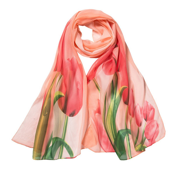 2018 Autumn Women Scarf Flower Printing Long Soft Wrap Scarf Chiffon Ladies Shawl Scarves