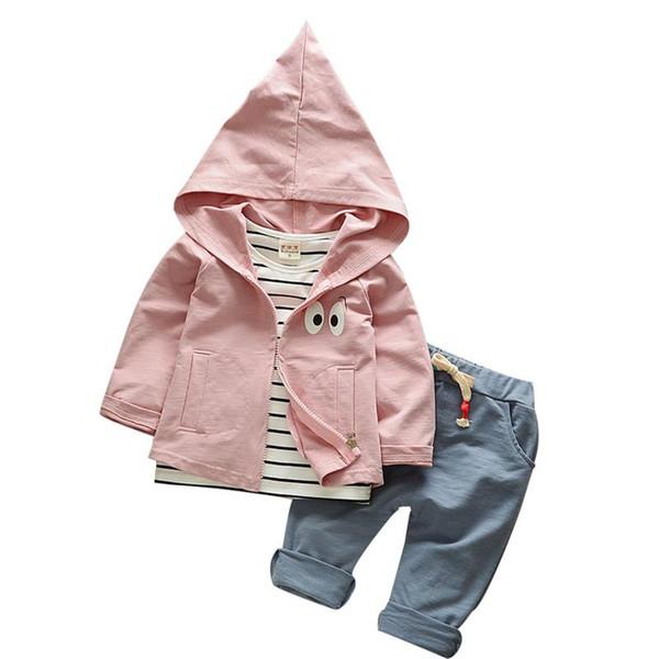 3 unids Conjunto de niños Abrigos para niños Ropa de manga larga Primavera y otoño Conjunto de bebé Color sólido de moda