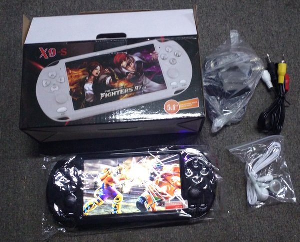 PMP X9S portable Console de jeux vidéo Écran 5.1inch joueurs Quad Core Game PSP 8 Go 64bit Support TV avec la caméra MP5 MP4 MP3 WMA WAV DHL GRATUIT