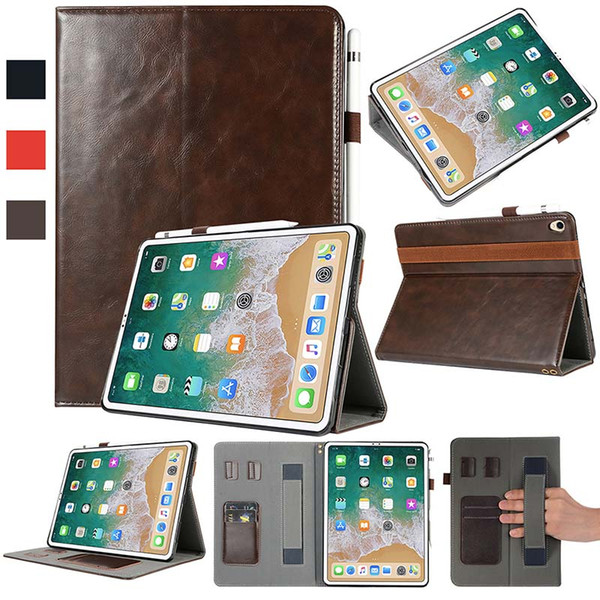 Luxury Classic Half Genuine Leather Tablet case for iPad Pro 11 ipad 5 6 AIR AIR2 cover case Shockproof PU Leather Tablet Case