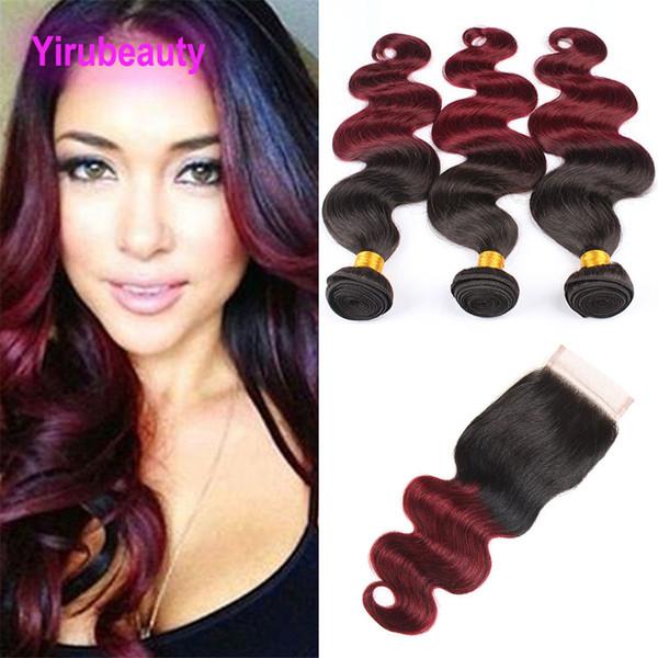 Indian Virgin Hair Two Tone 1B / 99J Body Wave 4 piezas / lote Paquetes con cierre de encaje 4X4 Middle Three Free Part Body Wave