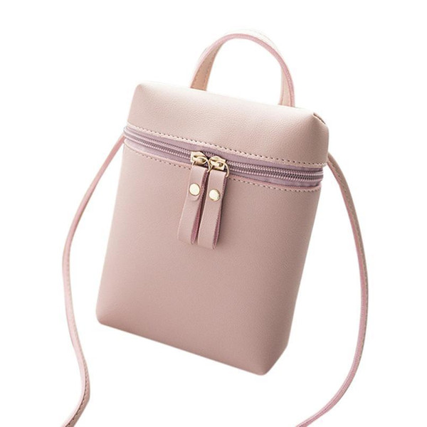 Cheap Women Phone Bags Pink Travel Shoulder Bag Crossbody Bags For Women Leather Mini Handbags Zipper Casual Cute #820