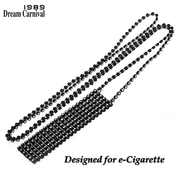 DreamCarnival 1989 Women Crystals Pendant Long Necklace Holder Pouch for Juul Electronic Cigarette Accessories Customize DP0902B