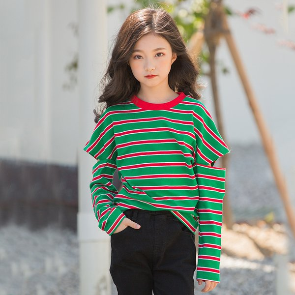 Striped Sleeve Holed Girls T-shirts Big Children Teenager Girls Tops Tees Children's Clothing