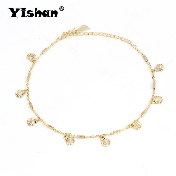 Yishan Summer 1Pcs Copper Anklet Sea Shell Barefoot Ankle Leg Bracelets Gift Sliver/Gold Color for Women Girl Vocation EY6254