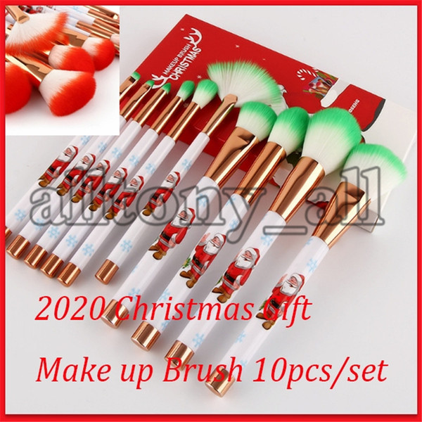 Drop Shipping Christmas Gift Merry Christmas Make up Brushes 10pcs/set face Makeup Tools with high quality