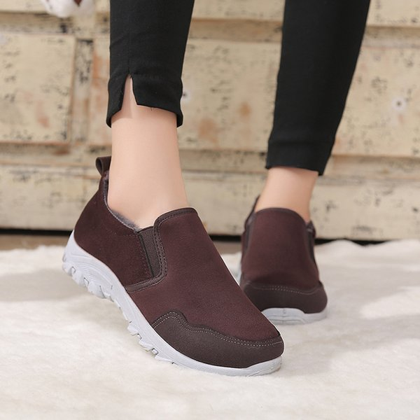 2018 New women Winter Shoes Solid Color Snow Boots Plush Inside Antiskid Bottom Keep Warm Waterproof Ski Boots Size rfv67