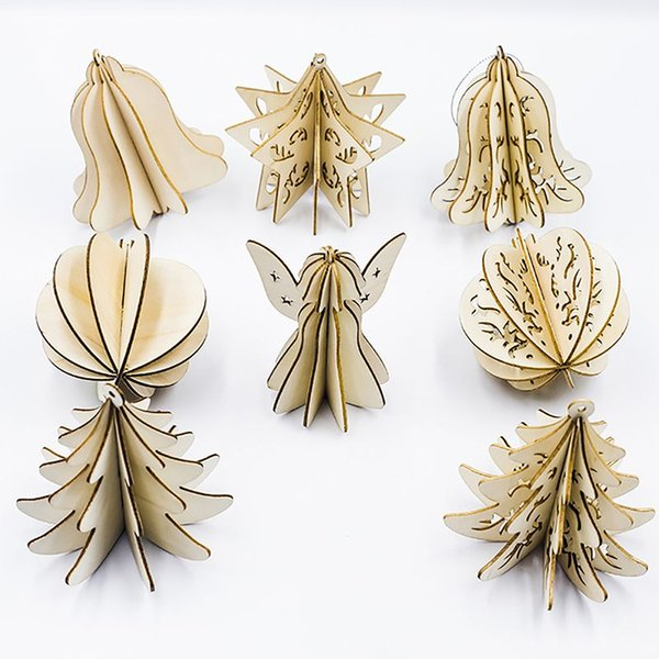 5PCS Wood Slices Splicing DIY 3D Christmas Pendants With Hang String For Xmas Tree Or Home Indoor Decorations Produtos Natalinos