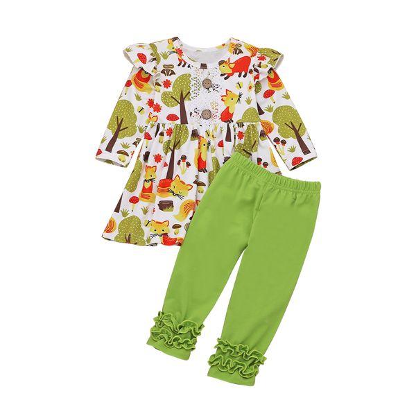 2019 Kinder Baby-Satz-Herbst-Winter-Kleidung Rüsche Langarm-Druck Shirts Frill lange Hosen Leggings 2Pcs Mädchen Sets 1-6Y