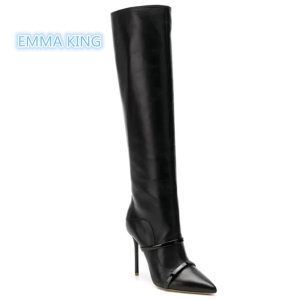 2019 New Black Leather Women Boots Pointed Toe Belt Strap Designer Shoes Fashion Woman High Heel Knight Boots Stilettos Booties