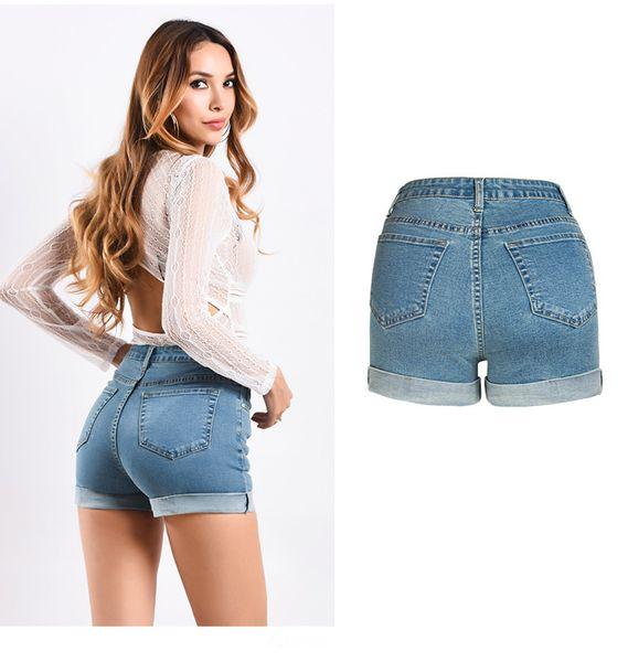 Großhandel Mode Vintage Hohe Taille Denim Shorts Damen Shorts Sommer Hohe Qualität Von Baumwolle Blendsdenim Slim Jeans Shorts Dünne Kurze Hosen Von