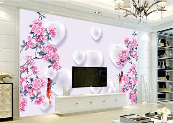 3d Room Wallpaper Custom Photo Non Woven Mural Love Three Dimensional Flower And Bird Beautiful Background Wall Wallpaper For Walls 3 D Wallpaper Hd
