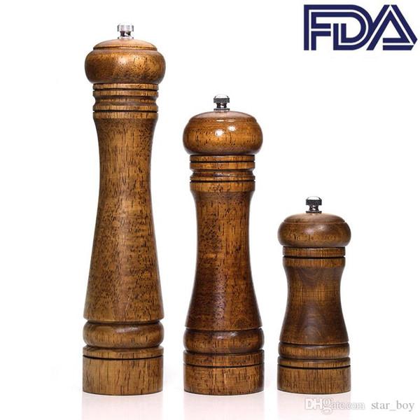 Moinhos de sal e pimenta em madeira Moinho de pimenta em madeira maciça com forte moedor de rotor de cerâmica ajustável 5
