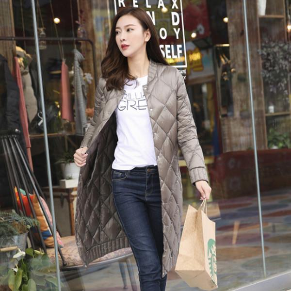 Acquista Donna Cammello Arancio Colore Nero Piumino Colletto Collo Lungo Giacche Caldo Cappotto Lungo Femminile Sottile Capispalla Plus. Cappotti