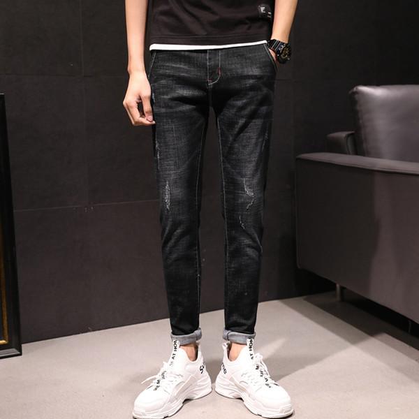 new fashion pants men skinny jeans Men streetwear ripped jeans for man Fitted Bottoms zipperjeans homme denim niu2085
