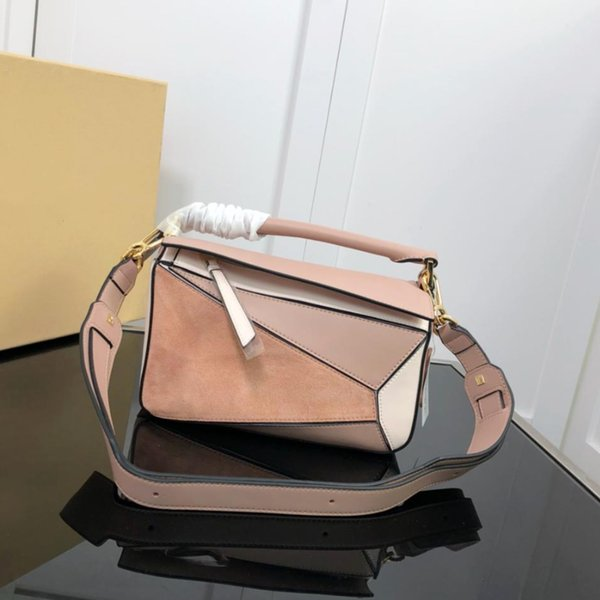 High quality 2018 new fashion leather puzzle bag women shoulder bag geometric handbag famous brand designer handbag
