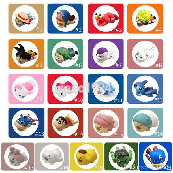 Câble Zoro Chopper Luffy ELMO Kitty Shnnosuke Doraemon Cartoon Câble de morsure d'animaux Protector Charger Cordon de câble morsure pour iPhone