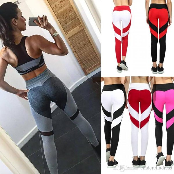 New Fashion Heart Print Contrast Color Womens Leggings High Street Skinny Slim Stretch Thick Footless Leggings Casual Pants FS5757