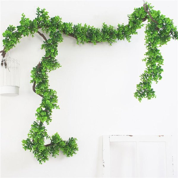 Artificial Green Leaf Hanging Vine Plant Vine for Wall Decoration Green Home Office Table Decor 1.9 M