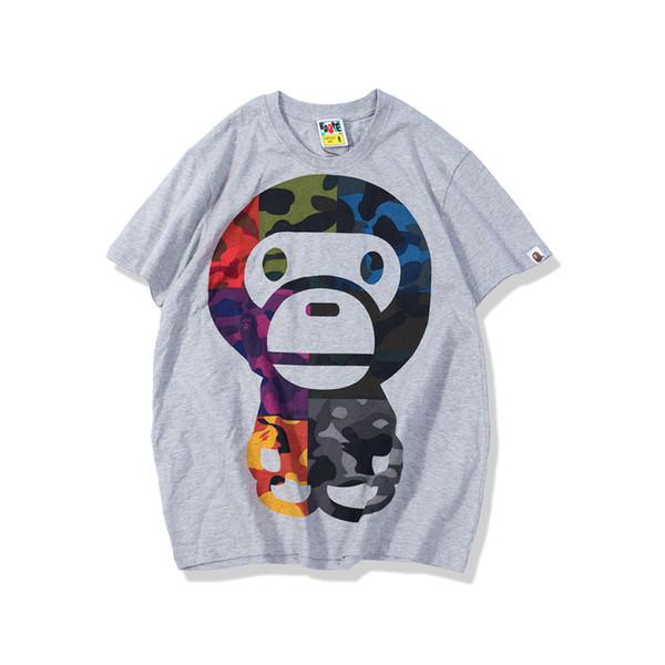 T-shirts à motifs de singe blancs et noirs Nouveau coton Mode Hommes Tees à manches courtes T-shirts à col rond