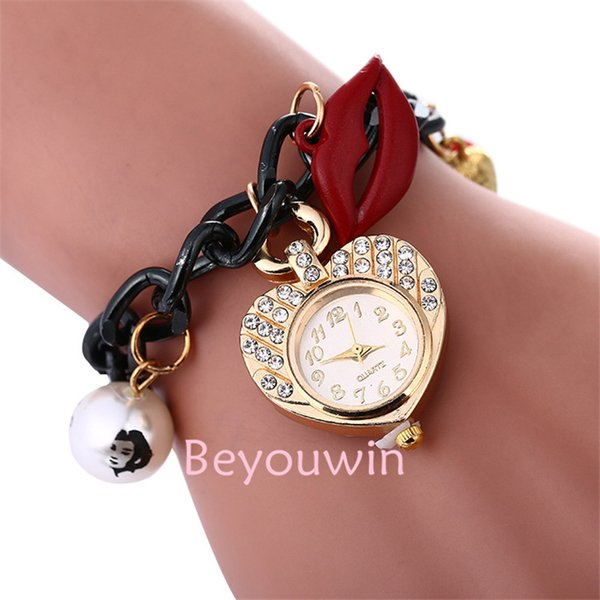 100pcs/lot fashion mini belt weave wrap around watch for women key pendant full crystal lady bracelet leather watch for girl