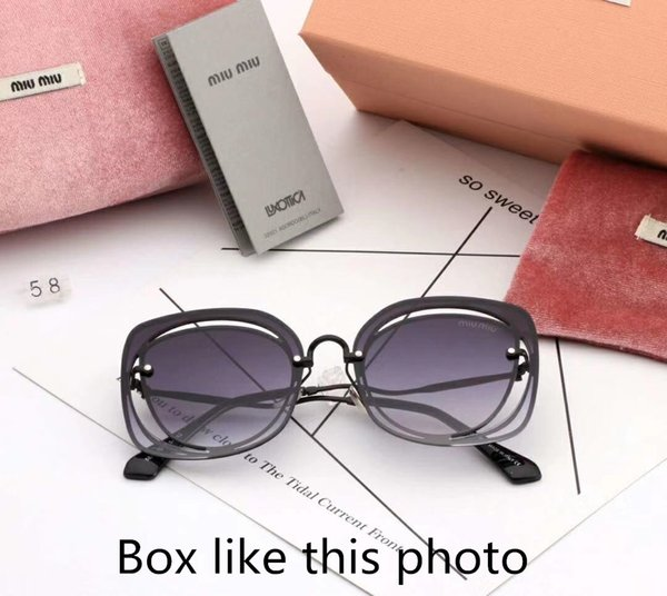 Luxury Sunglasses Designer Sunglasses Fashion Brand MM58 for Woman Glasses Rimless Hollow Out Design Driving UV400 Glasses with Box 7colors