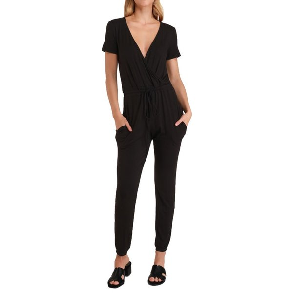Spring Summer Newest 2019 Women Sexy Fashion Deep V Short-sleeve Solid Color Cross Strap Casual Jumpsuit #2019.5.2