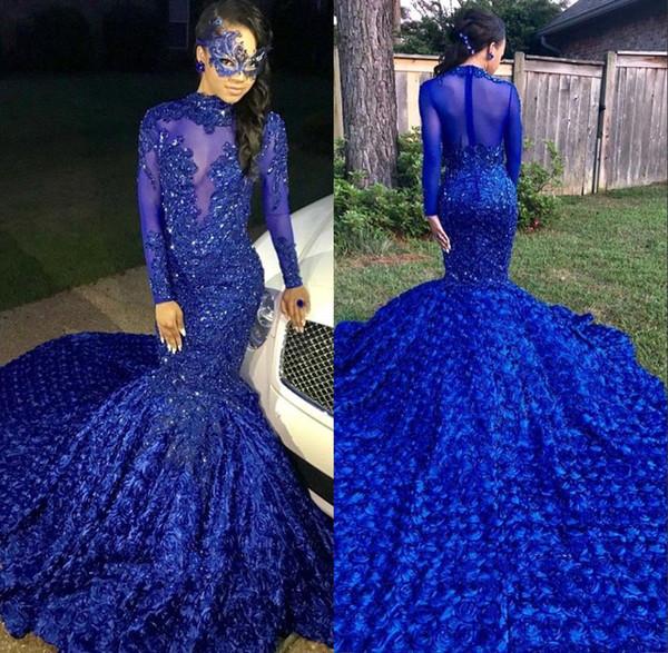 2019 schwarz mädchen meerjungfrau lange prom kleider royal blue long sleeves 3d floral rock spitze applique perlen formale partei abendkleider bc0749