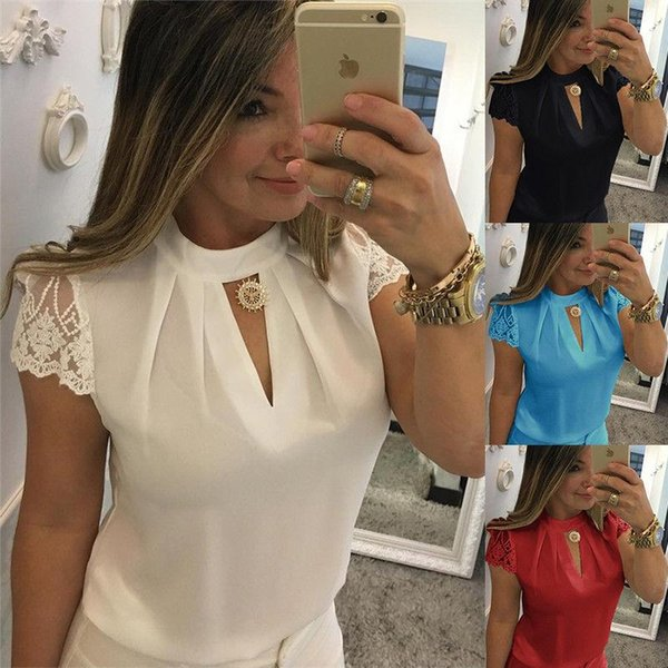Womens Chiffon Lace Casual Short Sleeve T-Shirt Ladies Summer Loose Tops Blouse Free Shipping CL012