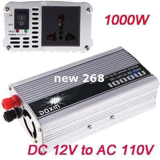 Freeshipping New Portable 1000W Car Power Inverter DC 12V to AC 110V Charger Converter Transformer With Cigaratte Plug Cable