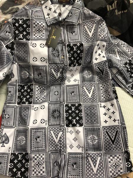 Camicia di cotone primavera e autunno 2019 uomini Medusa fiore stampa a colori retrò casual Harajuku camicia da uomo di lusso