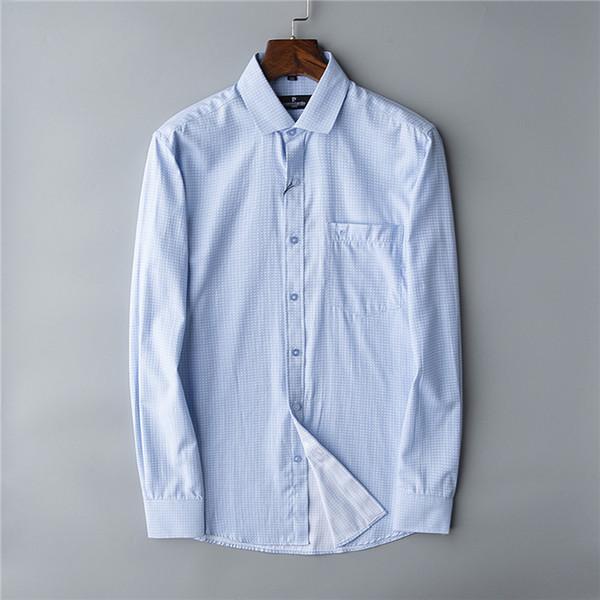 New Pierre Cardin, camicia a quadri, camicia a righe da uomo di successo. Stile di svago Cappotto da uomo # 6602