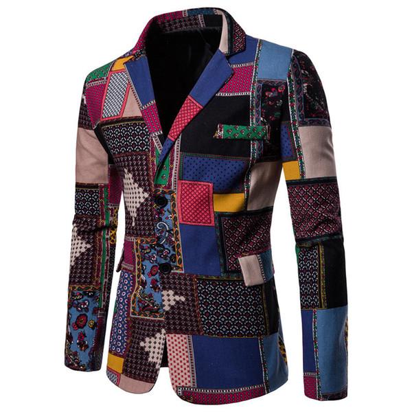 Blazer Men Spring Nationality Leaf Floral Printed Casual Cotton linen Blaser Masculino Slim Fit Blazers Men Suits Jacketn tops