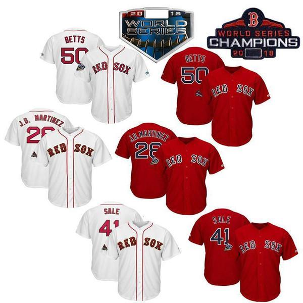 Boston Red Sox Hommes Jersey 2019 Champions Mookie Betts Chris Martinez J.D. vente Mitch Moreland Brock Holt baseball Knit Maillots