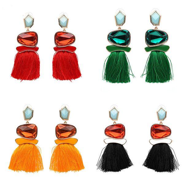 Venta caliente pendientes de la borla pendientes de diamantes diferentes estilo adornos colgantes coloridos encantadores pendientes para la joyería de las mujeres accesorios