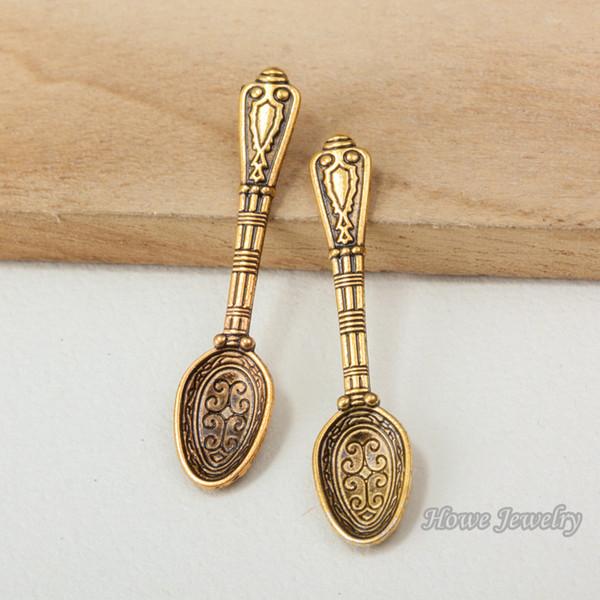 antique gold 36pcs Vintage Spoon Antique Gold Fit Bracelets Necklace DIY Metal Jewelry Making R027