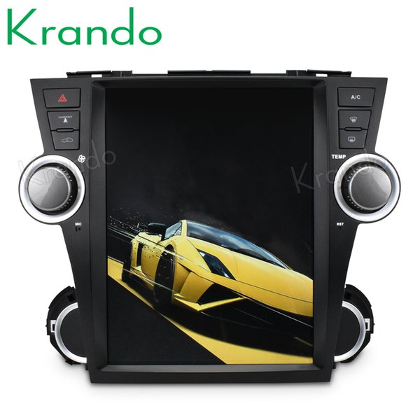 "Krando Android 7.1 12.1"" Vertical screen car DVD entertainment player GPS for Toyota Highlander 2008-2010 radio navigation system"