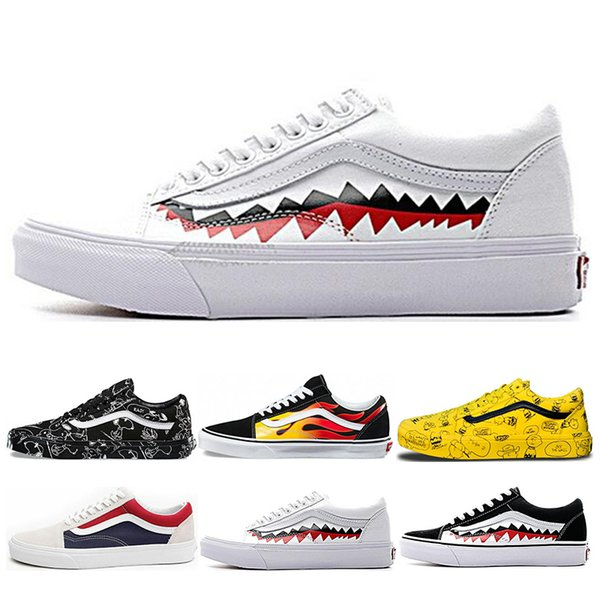 e5f8e4f7b5926c Classic Vans Old Skool Men Women Casual Shoes Rock Flame Yacht Club  Sharktooth Peanuts Skateboard Black