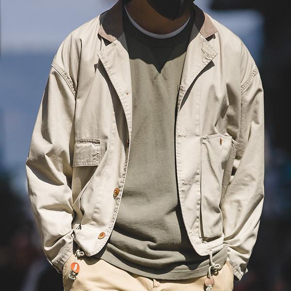 Maden algodão dos homens retro grande bolso cáqui casaco cor sólida casual solto ferramental jaqueta masculina
