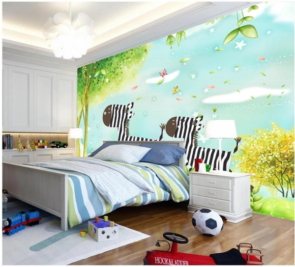 Custom photo wallpapers for walls 3 d murals Children's room fairy tale cartoon flower house tree background wall painting wall