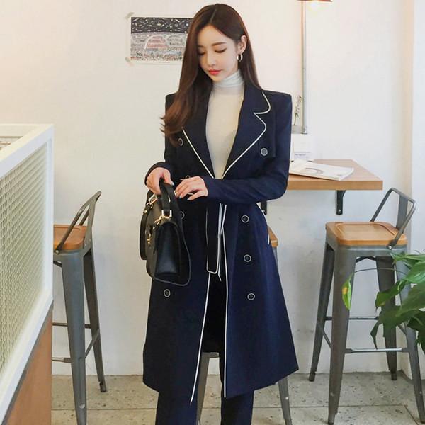 Elegante winter dicke zweireiher frauen hose anzüge verband langen blazer mantel bleistift hose mode weibliche anzüge 2018