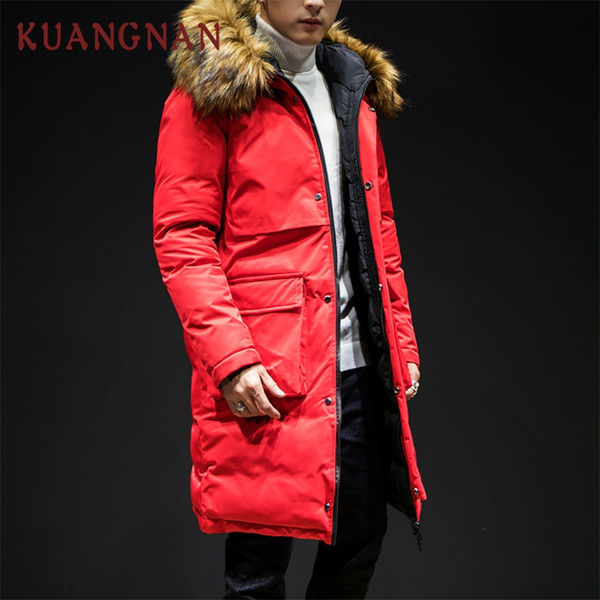 KUANGNAN Big Pocket Hooded Winter Jacket Men Clothes Windbreaker Mens Winter Parkas Overcoat 2018 Long Coat Mens Fur Parka 5XL