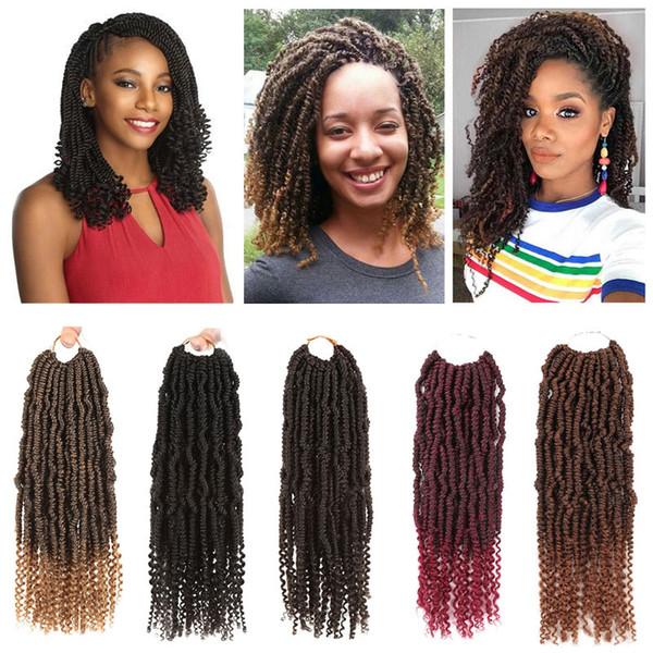 14 pouces printemps Twist Crochet tresses bombe Twist Crochet cheveux Ombre couleurs Extension de cheveux synthétiques Bouclés extrémités