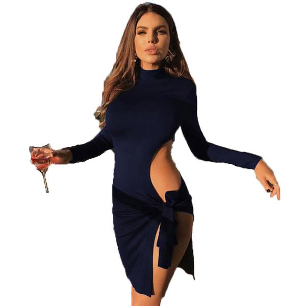 2018 Autunno Inverno Donna abito dolcevita manica lunga lato spaccato fasciatura vuota SexyClub elegante da sera aderente abiti da festa