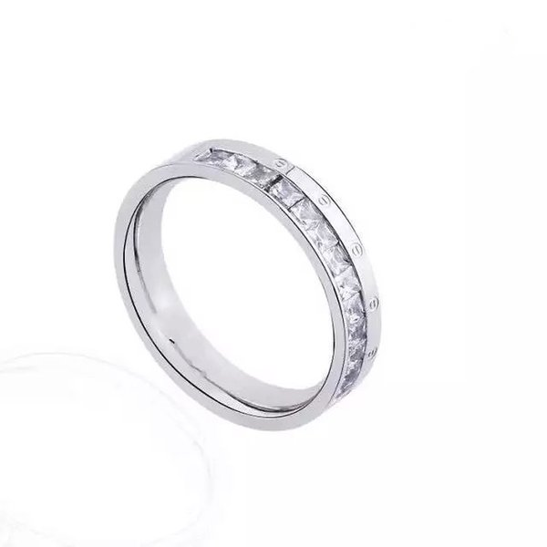 2019 high quality silver stainless steel width round rings with silver diamond bangle bracelet with box and dast bag