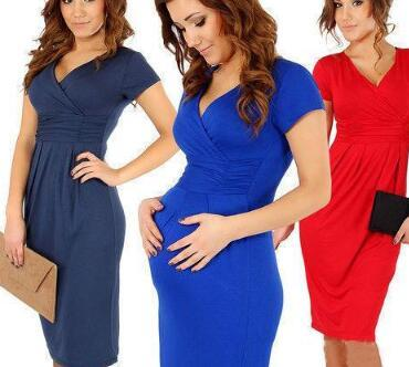 Women Summer Dresses Pregant Sexy V Neck High Elastic Bodycon ... 215e6d7aaa22