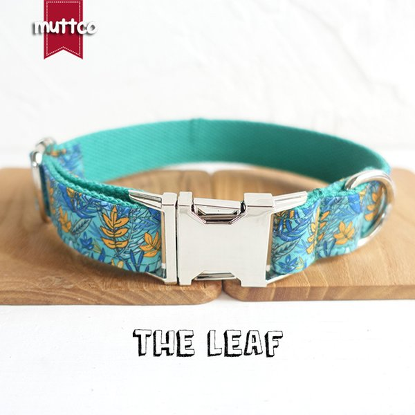 MUTTCO retailing personalized dog collar THE LEAF flexible pet puppy strap solid durable dog leash security training dog harness UDC066