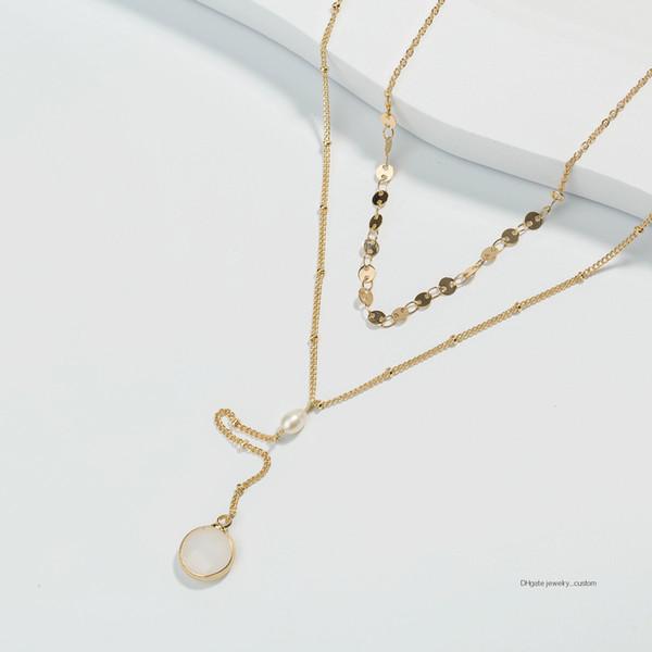 Кулон Натуральный Белый Нефритовый Пакет Край Камень Ожерелье из пресноводного жемчуга Цепочка с золотыми ключицами Мэм Многоэтажное ожерелье